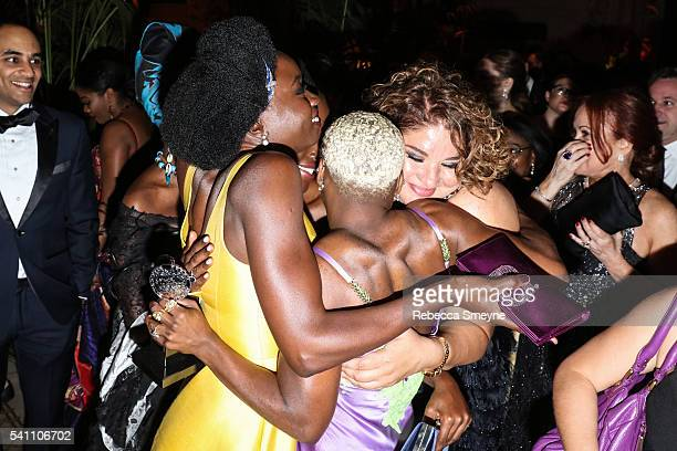 Danai Gurira Cynthia Erivo and Liesl Tommy embrace at the official Tony Awards afterparty at the Plaza Hotel in New York NY on June 12 2016