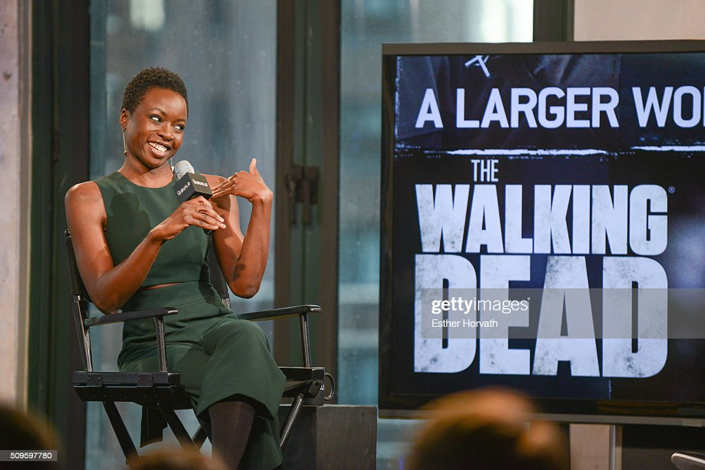 <a gi-track='captionPersonalityLinkClicked' href=/galleries/search?phrase=Danai+Gurira&family=editorial&specificpeople=4488413 ng-click='$event.stopPropagation()'>Danai Gurira</a> discusses 'The Walking Dead' at AOL Studios In New York on February 11, 2016 in New York City.