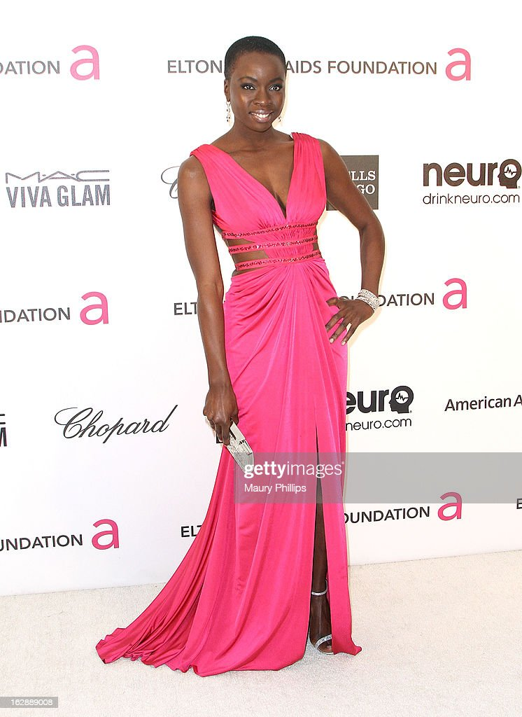 Danai Guriva arrives at the 21st Annual Elton John AIDS Foundation Academy Awards Viewing Party at Pacific Design Center on February 24, 2013 in West Hollywood, California.