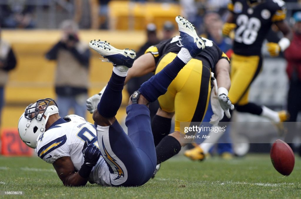 Danario Alexander #84 of the San Diego Chargers can't make a catch in the first half against the Pittsburgh Steelers during the game on December 9, 2012 at Heinz Field in Pittsburgh, Pennsylvania.