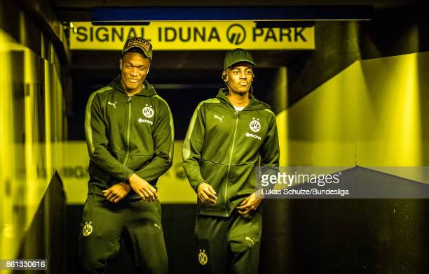 DanAxel Zagadou and Alexander Isak arrive in the player tunnel prior to the Bundesliga match between Borussia Dortmund and RB Leipzig at Signal Iduna...