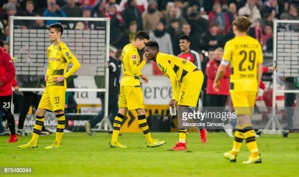 DanAxel Zagadou of Borussia Dortmund after the final whistle during the Bundesliga match between VfB Stuttgart and Borussia Dortmund at MercedesBenz...