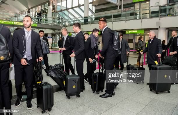 DanAxel Zagadou of Borussia Dortmund at the airport before flying to Madrid for the UEFA Champions League match between Real Madrid and Borussia...