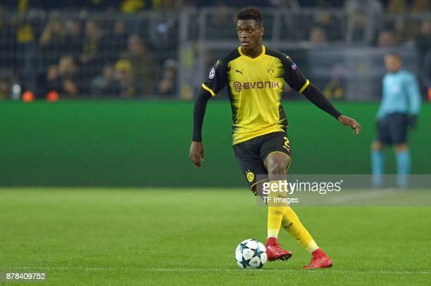 DanAxel Zagadou of Borussia Dortmund controls the ball during the UEFA Champions League group H match between Borussia Dortmund and Tottenham Hotspur...