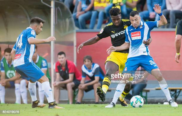 DanAxel Zagadou of Borussia Dortmund in action during a friendly match between Espanyol Barcelona and Borussia Dortmund as part of the training camp...