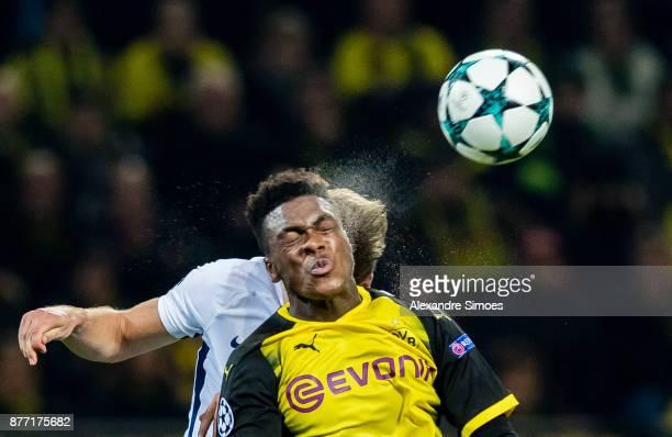 DanAxel Zagadou of Borussia Dortmund in action during the UEFA Champions League match between Borussia Dortmund and Tottenham Hotspur at Signal Iduna...