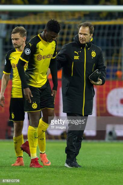 DanAxel Zagadou of Borussia Dortmund injured during the UEFA Champions League group H match between Borussia Dortmund and Tottenham Hotspur at Signal...