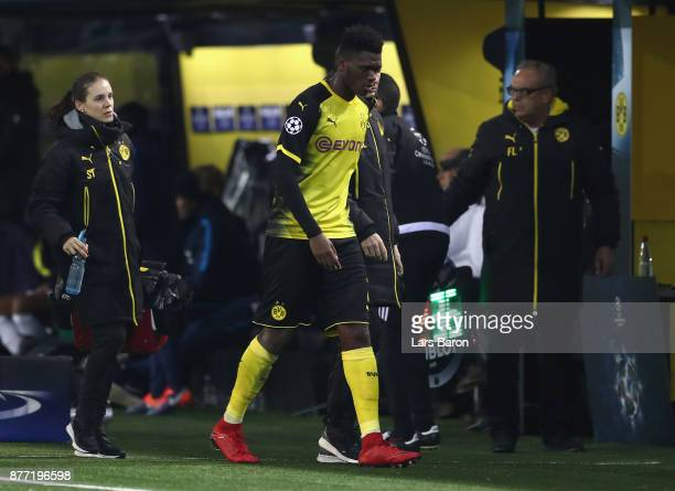 DanAxel Zagadou of Borussia Dortmund is susbtituted during the UEFA Champions League group H match between Borussia Dortmund and Tottenham Hotspur at...