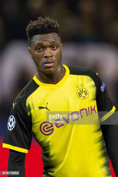 DanAxel Zagadou of Borussia Dortmund looks on during the UEFA Champions League group H match between Borussia Dortmund and Tottenham Hotspur at...