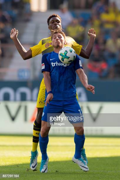 DanAxel Zagadou of Dortmund and Dimitrios Diamantakos of Bochum battle for the ball during the preseason friendly match between VfL Bochum and...