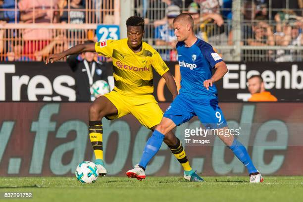 DanAxel Zagadou of Dortmund and Johannes Wurtz of Bochum battle for the ball during the preseason friendly match between VfL Bochum and Borussia...