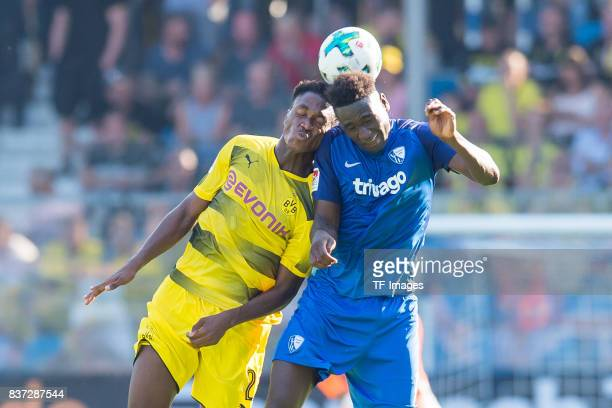 DanAxel Zagadou of Dortmund and Peniel Mlapa of Bochum battle for the ball during the preseason friendly match between VfL Bochum and Borussia...