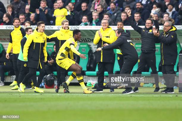DanAxel Zagadou of Dortmund celebrates after he scored a goal to make it 11 during the Bundesliga match between Hannover 96 and Borussia Dortmund at...