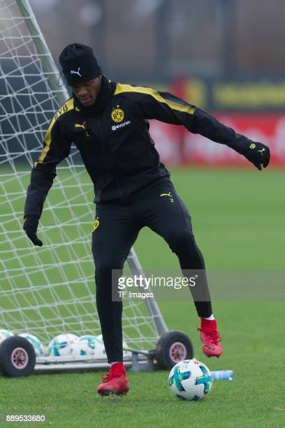 DanAxel Zagadou of Dortmund controls the ball during a training session at BVB trainings center on December 7 2017 in Dortmund