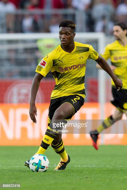 DanAxel Zagadou of Dortmund controls the ball during the preseason friendly match between RotWeiss Essen and Borussia Dortmund at Stadion Essen on...
