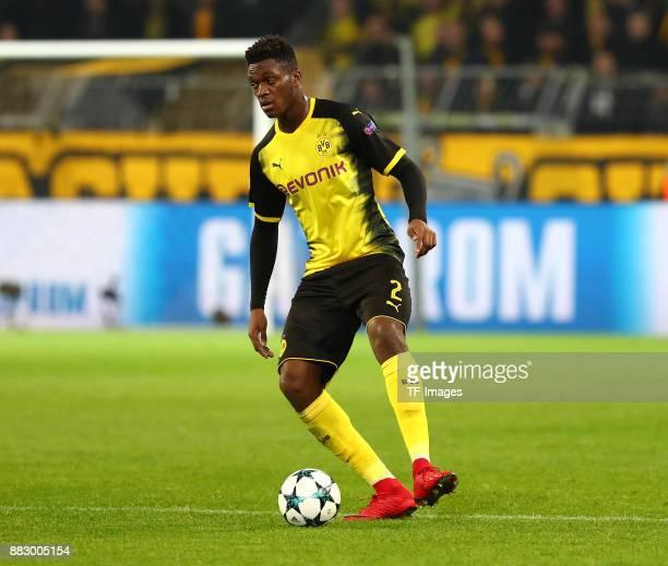DanAxel Zagadou of Dortmund controls the ball during the UEFA Champions League group H match between Borussia Dortmund and Tottenham Hotspur at...