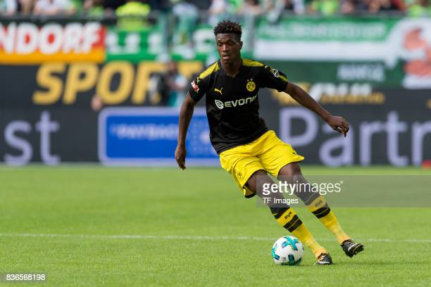 DanAxel Zagadou of Dortmund controls the ball during to the Bundesliga match between VfL Wolfsburg and Borussia Dortmund at Volkswagen Arena on...