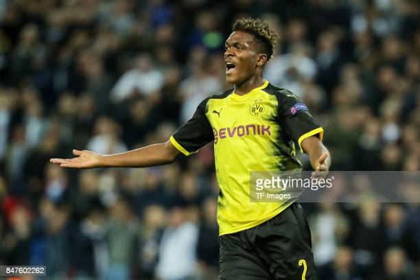 DanAxel Zagadou of Dortmund gestures during the UEFA Champions League group H match between Tottenham Hotspur and Borussia Dortmund at Wembley...