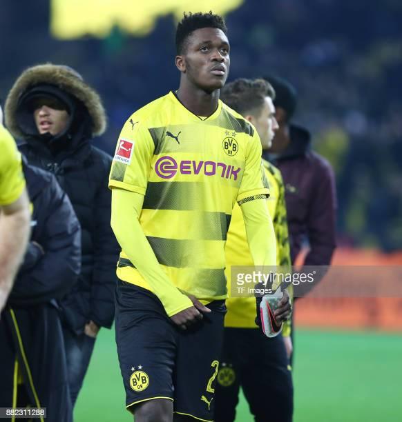 DanAxel Zagadou of Dortmund looks dejected during the Bundesliga match between Borussia Dortmund and FC Schalke 04 at Signal Iduna Park on November...
