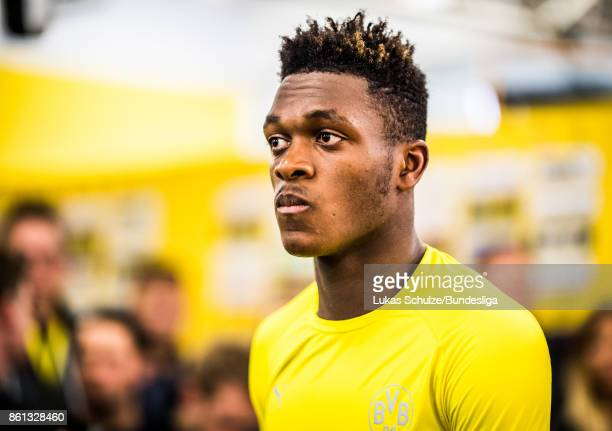 DanAxel Zagadou of Dortmund looks disappointed in the mixed zone after loosing the Bundesliga match between Borussia Dortmund and RB Leipzig at...