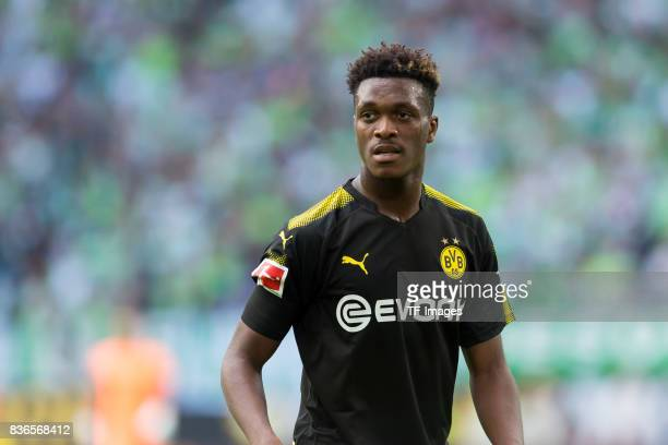 DanAxel Zagadou of Dortmund looks on during to the Bundesliga match between VfL Wolfsburg and Borussia Dortmund at Volkswagen Arena on August 19 2017...
