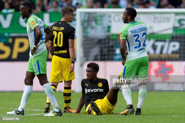 DanAxel Zagadou of Dortmund on the ground during to the Bundesliga match between VfL Wolfsburg and Borussia Dortmund at Volkswagen Arena on August 19...