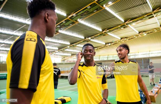 DanAxel Zagadou Ousmane Dembele and PierreEmerick Aubameyang of Dortmund looks on during the Lactate Test at xxx on July 7 2017 in Dortmund Germany