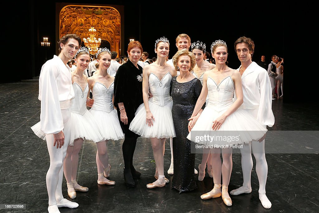 Dance Director of the 'Opera de Paris' Brigitte Lefevre and Great Mecene of French school of dance Lily Safra between Star Dancers of Opera de Paris on stage while Tricentenary of the French dance school, AROP Gala, at Opera Garnier on April 15, 2013 in Paris, France.