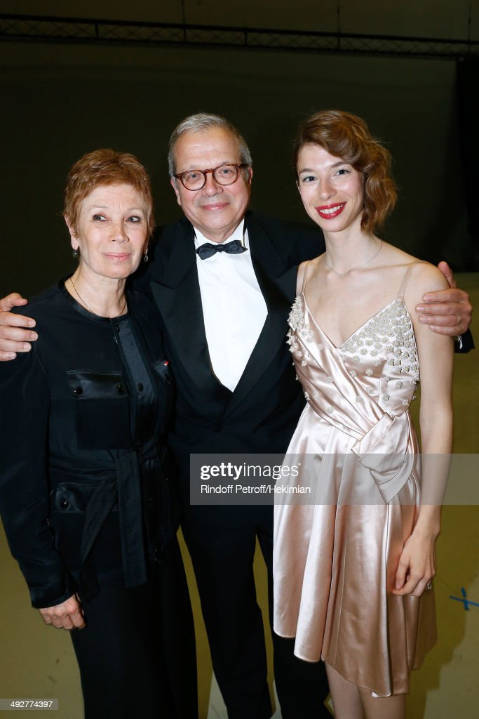 Dance Director of the 'Opera de Paris' Brigitte Lefevre with her husband Olivier Meyer and their daughter Mathilde Meyer attend the AROP Charity Gala. Held at Opera Bastille on May 21, 2014 in Paris, France.