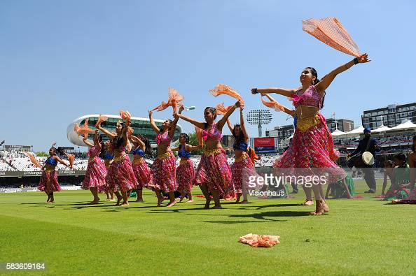 Dance entertainment on the Lord's outfield during the lunch break during Day Two of the 2nd Investec Test between England and India at Lord's Cricket...