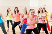 Group of women in dance fitness class.
