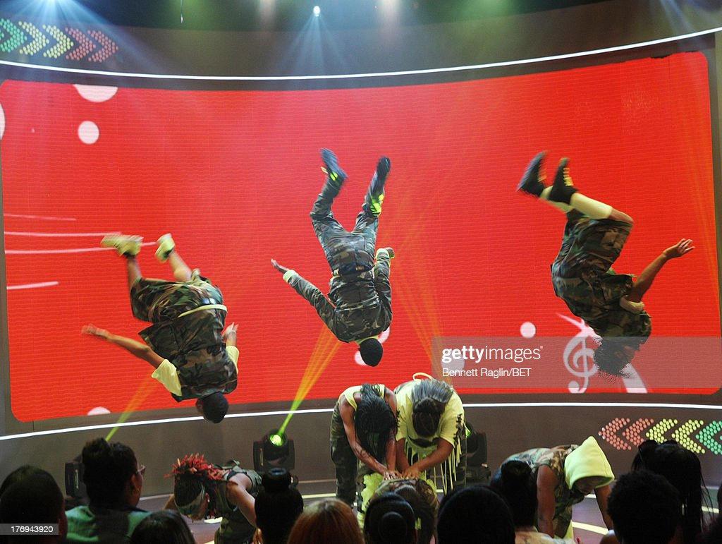 Dance group Too Much Dance perform during 106 & Park at 106 & Park Studio on August 19, 2013 in New York City.