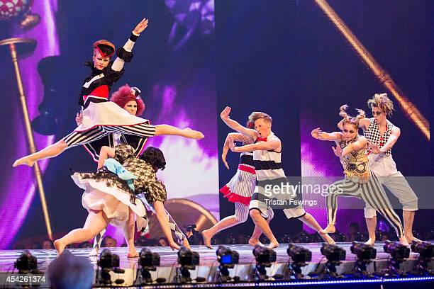 Dance group Untitled perform on stage during the third live show of 2014's 'Got To Dance' at Earls Court on August 27 2014 in London England