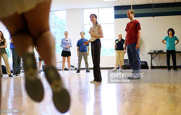 Dance instructors Tony Tye and his wife Aurelie Tye taught a Lindy Hop dance class to a large group of students at Endicott College on June 25 2006...