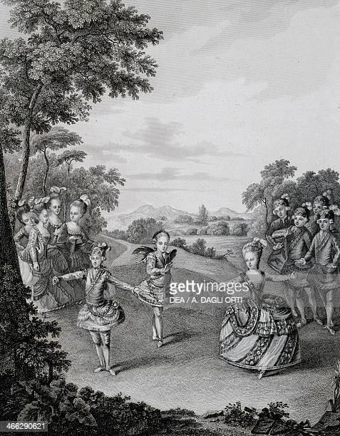Dance on the occasion of the marriage of Joseph II and Maria Josephine of Bavaria January 23 engraving Austria 18th century