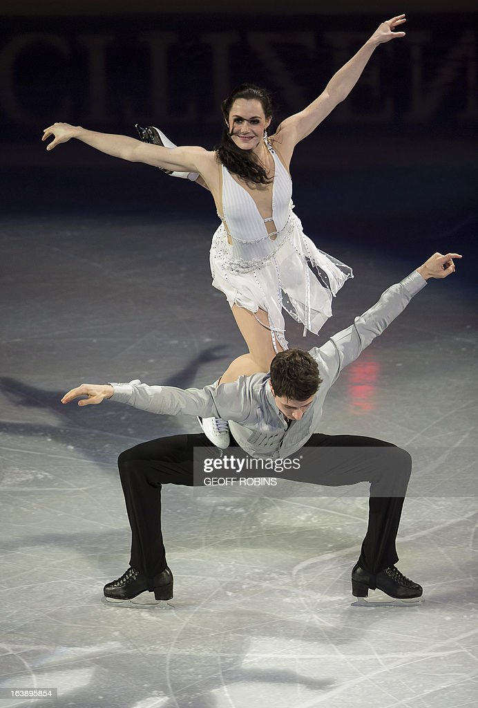 Dance silver medalists Tessa Virtue and Scott Moir of Canada skate in the 2013 World Figure Skating Championships Gala in London, Ontario, on March 17, 2013. AFP PHOTO/Geoff Robins