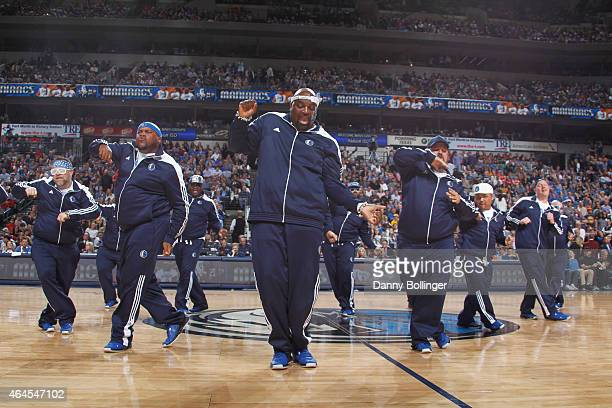 A dance team act performs during a game between the Houston Rockets and Dallas Mavericks on February 20 2015 at the American Airlines Center in...