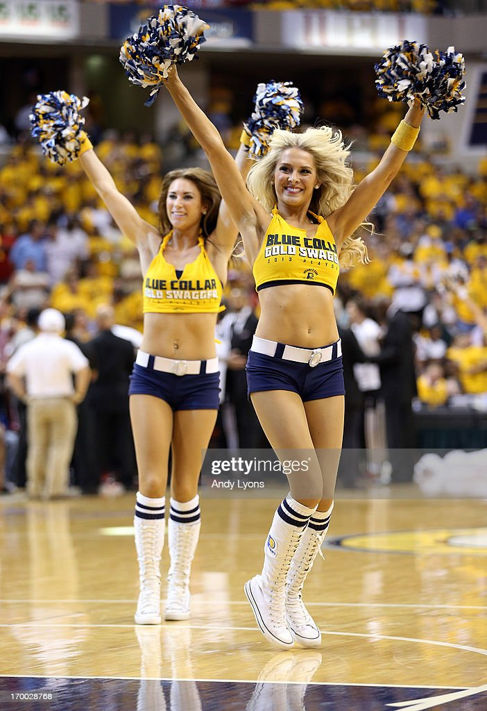 A dance team cheerleader for the Indiana Pacers performs against the Miami Heat during Game Four of the Eastern Conference Finals of the 2013 NBA Playoffs at Bankers Life Fieldhouse on May 28, 2013 in Indianapolis, Indiana.