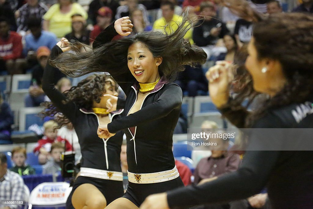 A dance team member for the Fort Wayne Mad Ants performs during a game against the Santa Cruz Warriors during game two of the National Basketball Developmental League Finals at Allen County Memorial Coliseum on April 26, 2014 in Fort Wayne, Indiana.
