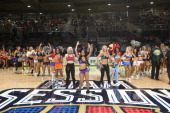 Dance Teams perform during the Sprint NBA AllStar Celebrity Game at Sprint Arena during the 2014 NBA AllStar Jam Session at the Ernest N Morial...