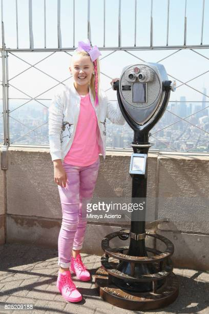 Dancer/ actress Jojo Siwa visits the Empire State Building to promote her TV special 'JoJo Siwa My World' at The Empire State Building on August 1...