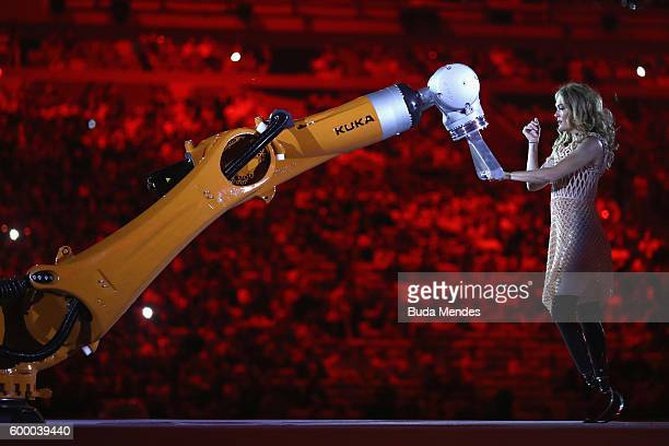 Dancer Amy perform with robot KUKA during the Opening Ceremony of the Rio 2016 Paralympic Games at Maracana Stadium on September 7 2016 in Rio de...