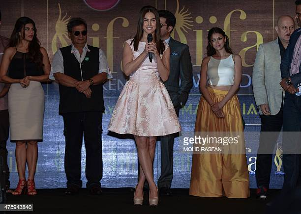 US dancer and actress Lauren Gottlieb addresses members of the media during the IIFA weekend press conference on the first day of the 16th...