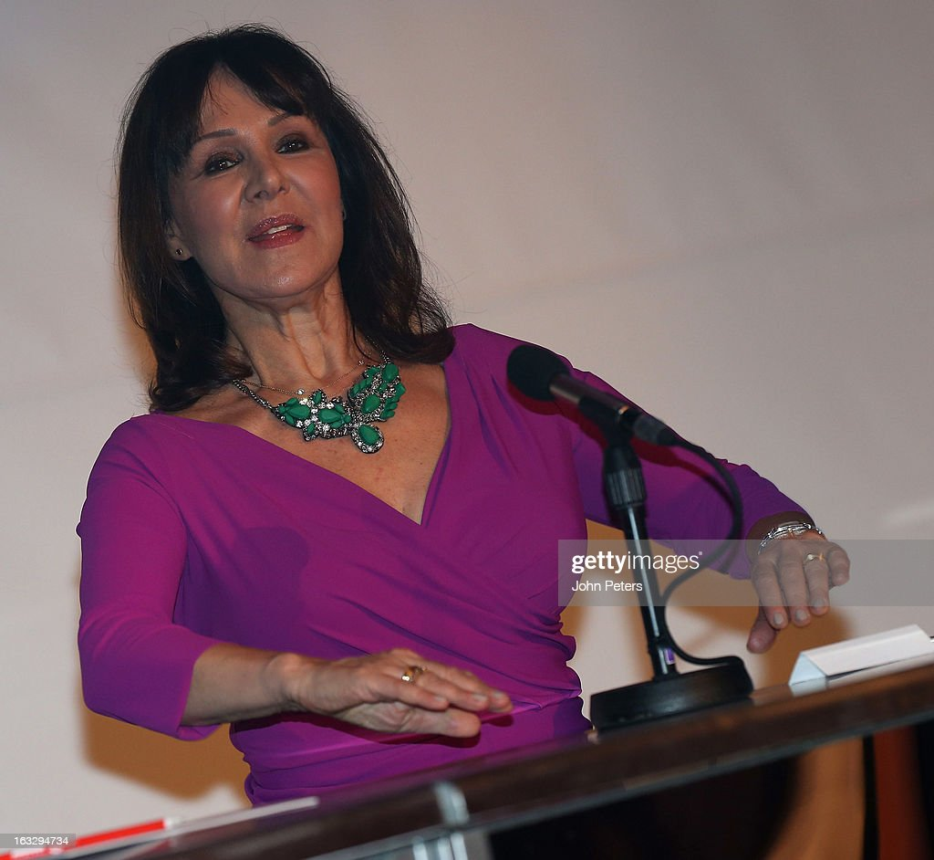Dancer Arlene Phillips watches from the judges panel as part of Dancing with United, in aid of the Manchester United Foundation, at Old Trafford on March 7, 2013 in Manchester, England.