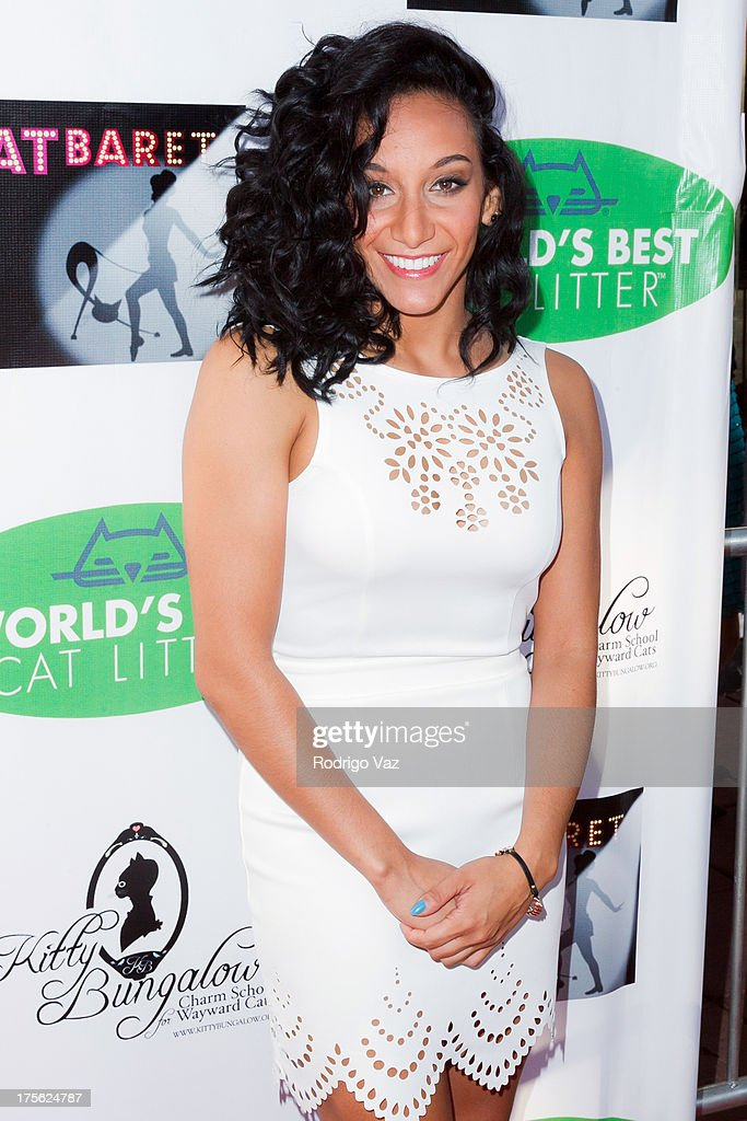 Dancer Ashley Gonzales arrives at 'CATberet' - A Musical Review for local cat and kitten rescue center Kitty Bungalow Charm School For Wayward Cats at Belasco Theatre on August 4, 2013 in Los Angeles, California.