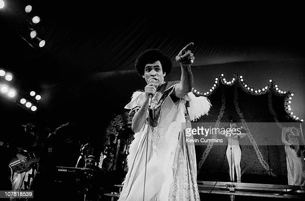 Dancer Bobby Farrell of pop group Boney M performs at the Liverpool Empire 31st December 1978