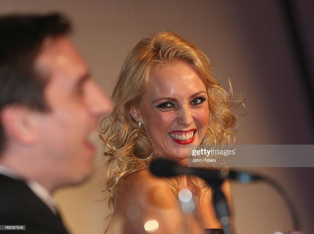 Dancer <a gi-track='captionPersonalityLinkClicked' href=/galleries/search?phrase=Camilla+Dallerup&family=editorial&specificpeople=4356274 ng-click='$event.stopPropagation()'>Camilla Dallerup</a> watches from the judges panel as part of Dancing with United, in aid of the Manchester United Foundation, at Old Trafford on March 7, 2013 in Manchester, England.