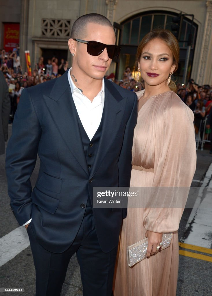 Dancer Casper Smart and actress <a gi-track='captionPersonalityLinkClicked' href=/galleries/search?phrase=Jennifer+Lopez&family=editorial&specificpeople=201784 ng-click='$event.stopPropagation()'>Jennifer Lopez</a> arrive at the premiere of Lionsgate's 'What To Expect When You're Expecting' held at Grauman's Chinese Theatre on May 14, 2012 in Hollywood, California.