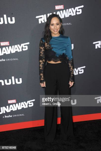 Dancer Cheryl Burke arrives for the Premiere Of Hulu's 'Marvel's Runaways' held at Regency Bruin Theatre on November 16 2017 in Los Angeles California