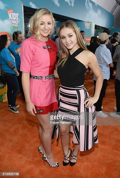 Dancer Chloe Lukasiak and actress Brec Bassinger attend Nickelodeon's 2016 Kids' Choice Awards at The Forum on March 12 2016 in Inglewood California